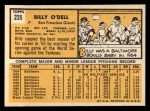 1963 Topps #235   Billy O'Dell Back Thumbnail