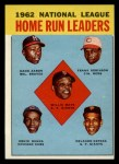 1963 Topps #3  1962 NL Home Run Leaders  -  Hank Aaron / Willie Mays / Frank Robinson / Ernie Banks / Orlando Cepeda Front Thumbnail