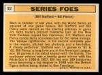 1963 Topps #331   -  Bill Stafford / Bill Pierce Series Foes   Back Thumbnail