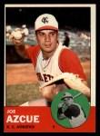 1963 Topps #501  Joe Azcue  Front Thumbnail