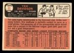 1966 Topps #89   Ted Davidson Back Thumbnail