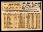 1963 Topps #439 B  Don Zimmer Back Thumbnail
