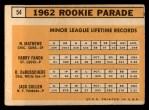 1963 Topps #54 *ERR*  -  Dave DeBusschere / Nelson Matthews / Harry Fanok / Jack Cullen 1962 Rookies Back Thumbnail