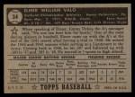 1952 Topps #34 BLK  Elmer Valo Back Thumbnail