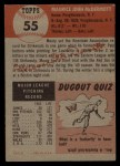 1953 Topps #55   Mickey McDermott Back Thumbnail