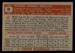 1952 Topps #38 RED Wally Westlake  Back Thumbnail