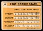 1963 Topps #386 ERR  -  Ed Kirkpatrick / John Bateman / Garry Roggenburk / Larry Bearnarth Rookies Back Thumbnail