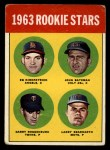 1963 Topps #386 ERR  -  Ed Kirkpatrick / John Bateman / Garry Roggenburk / Larry Bearnarth Rookies Front Thumbnail