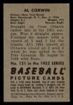 1952 Bowman #121   Al Corwin Back Thumbnail
