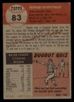 1953 Topps #83   Howie Pollet Back Thumbnail