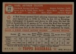 1952 Topps #72 RED Karl Olson  Back Thumbnail