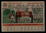 1956 Topps #307   Hoyt Wilhelm Back Thumbnail