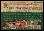 1954 Topps #55   Phil Cavarretta Back Thumbnail