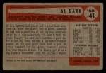 1954 Bowman #41 2B  Al Dark Back Thumbnail