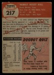 1953 Topps #217   Murray Wall Back Thumbnail