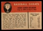 1961 Fleer #42   Harry Heilman Back Thumbnail