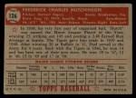 1952 Topps #126  Fred Hutchinson  Back Thumbnail