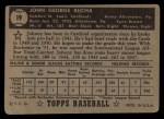 1952 Topps #19 BLK Johnny Bucha  Back Thumbnail