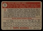 1952 Topps #73 RED  Bill Werle Back Thumbnail