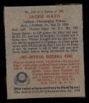 1949 Bowman #228  Jackie Mayo  Back Thumbnail
