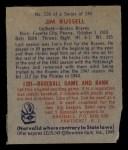 1949 Bowman #235  Jim Russell  Back Thumbnail