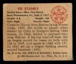 1950 Bowman #29  Eddie Stanky  Back Thumbnail