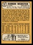 1968 Topps #164  Ramon Webster  Back Thumbnail