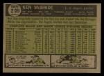 1961 Topps #209   Ken McBride Back Thumbnail