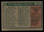 1975 Topps #304  Pirates Team Checklist  -  Danny Murtaugh Back Thumbnail