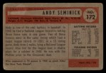 1954 Bowman #172  Andy Seminick  Back Thumbnail