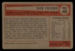 1954 Bowman #43 COR Bob Friend  Back Thumbnail