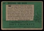1956 Topps Davy Crockett #55 GRN  Driving 'Em Back  Back Thumbnail