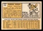 1963 Topps #516  Prunal Goldy  Back Thumbnail