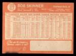 1964 Topps #377  Bob Skinner  Back Thumbnail