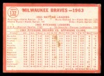 1964 Topps #132  Braves Team  Back Thumbnail