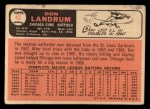 1966 Topps #43 COR  Don Landrum  Back Thumbnail