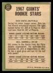 1967 Topps #341   Giants Rookie Stars  -  Dick Dietz / Bill Sorrell Back Thumbnail