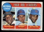 1969 Topps #4  1968 NL RBI Leaders  -  Willie McCovey / Ron Santo / Billy Williams Front Thumbnail