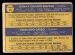 1970 Topps #36  Reds Rookie Stars  -  Danny Breeden / Bernie Carbo Back Thumbnail