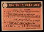 1966 Topps #123  Pirates Rookies  -  Frank Bork / Jerry May Back Thumbnail