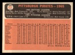 1966 Topps #404 ^COR^  Pirates Team Back Thumbnail