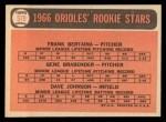 1966 Topps #579  Orioles Rookies  -  Frank Bertaina / Gene Brabender / Davey Johnson Back Thumbnail