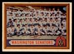 1957 Topps #270  Senators Team  Front Thumbnail