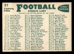 1960 Topps #21   Bears Team Checklist Back Thumbnail