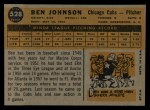 1960 Topps #528   Ben Johnson Back Thumbnail
