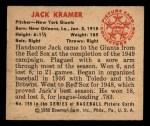 1950 Bowman #199  Jack Kramer  Back Thumbnail