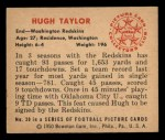 1950 Bowman #30   Hugh Taylor Back Thumbnail