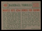 1959 Topps #461   -  Mickey Mantle Mantle Hits 42nd Homer for Crown Back Thumbnail