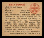 1950 Bowman #252   Billy DeMars Back Thumbnail