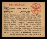 1950 Bowman #237   Bill Salkeld Back Thumbnail